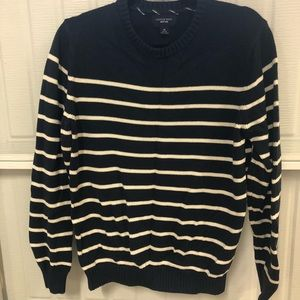 Lands end men's navy and cream striped sweater